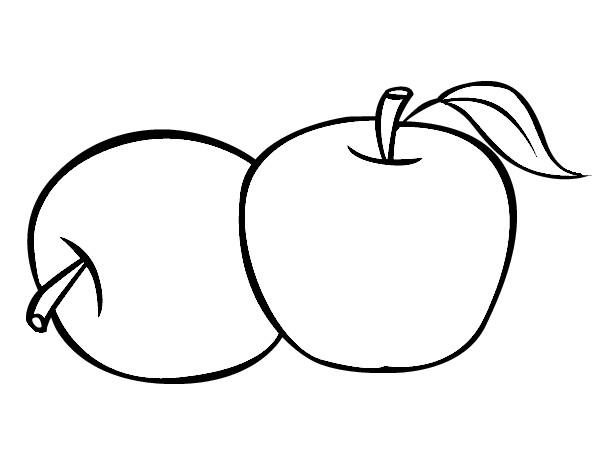 dos manzanas para colorear